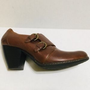 B.O.C. Brown Leather Double Strap Monk Booties 9.5